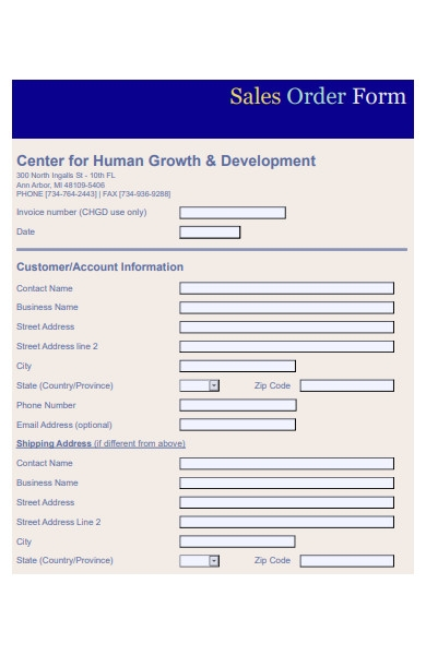standard sales order form