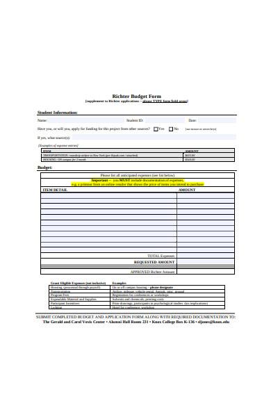 standard student budget form