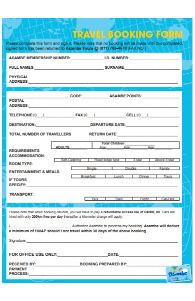standard travel booking form