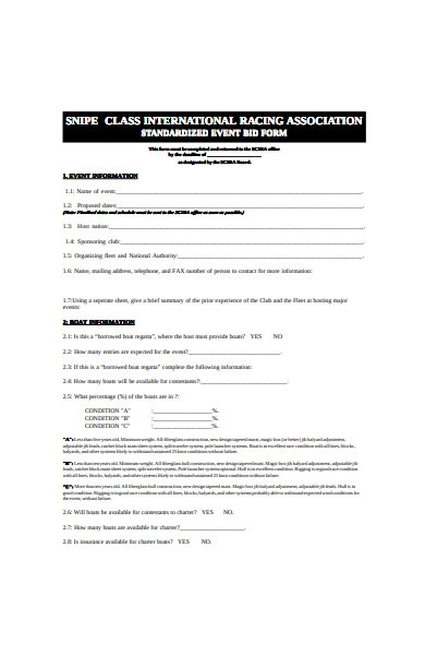 standardized event bid form