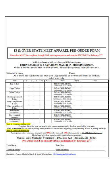 state meet apparel order form