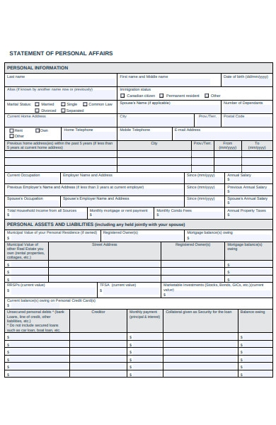 statement of personal affairs form
