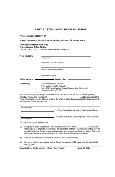 stipulated price bid form in pdf
