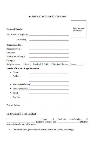 student academic registration form