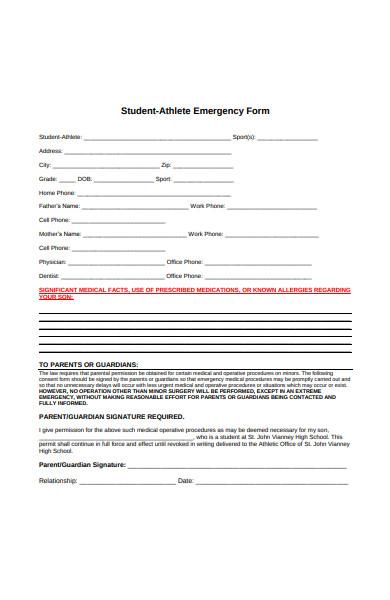 student athlete emergency form