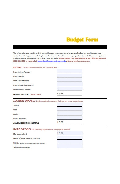 student budget form in pdf