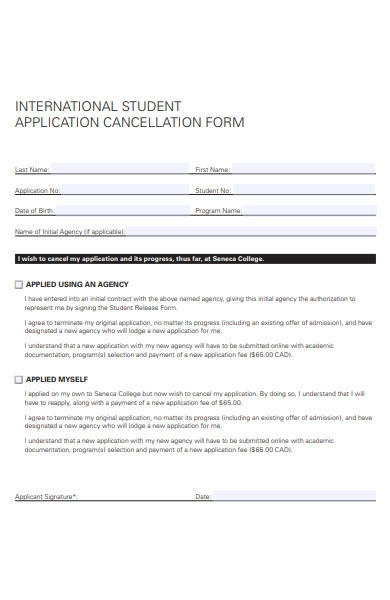 student cancellation form