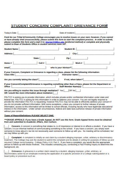 student concern grievance form