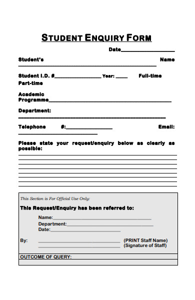 student enquiry form