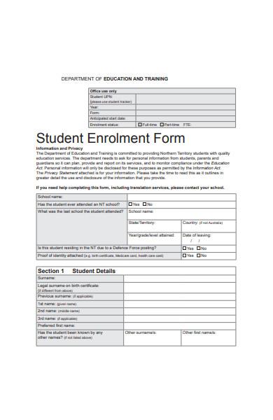 student enrolment form