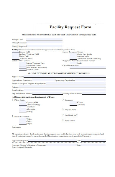 student facility form