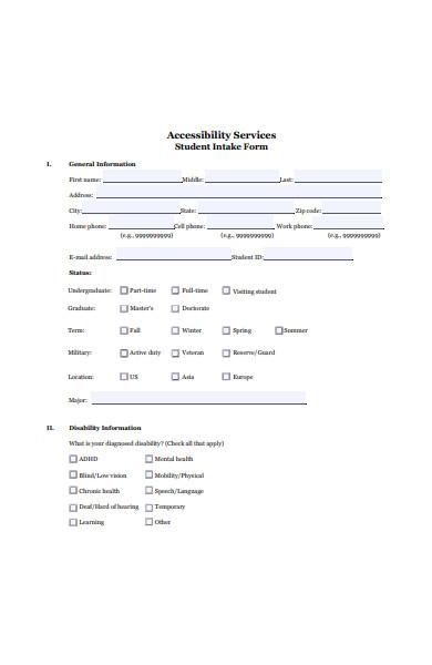 student intake form