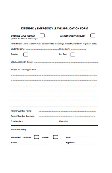 student leave extended application form