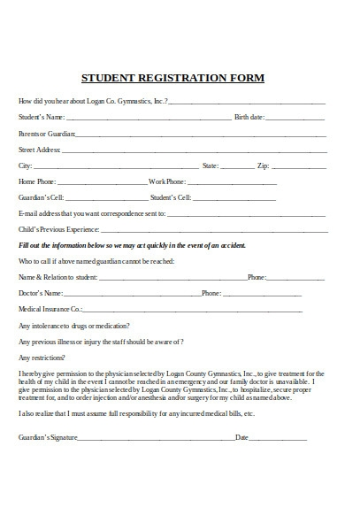 student liability registration form