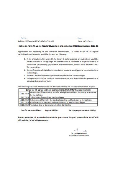 student notice form
