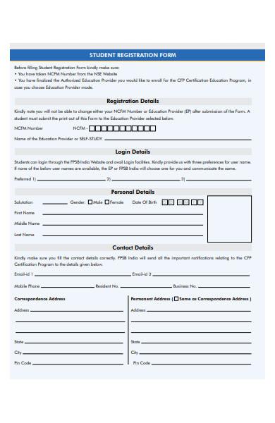 student registration detail form