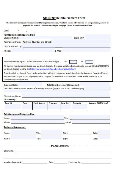student reimbursement form