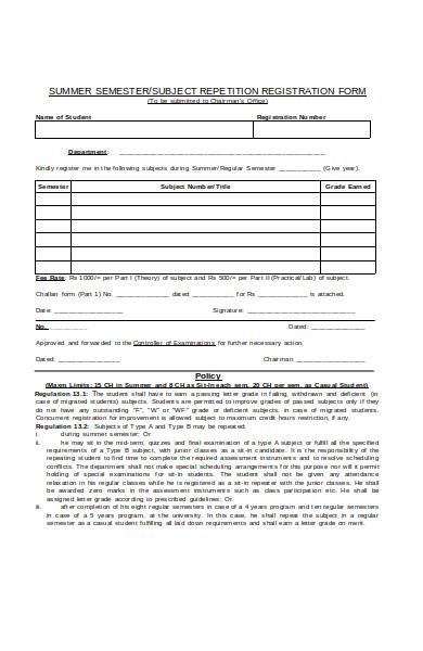 student semester registration form