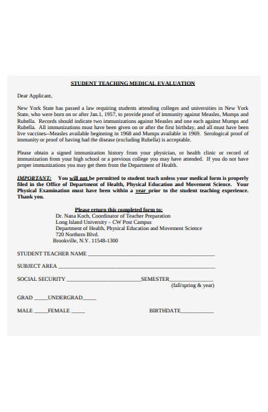 student teaching medical evaluation form
