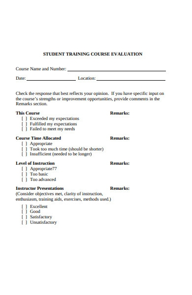 student training course evaluation form