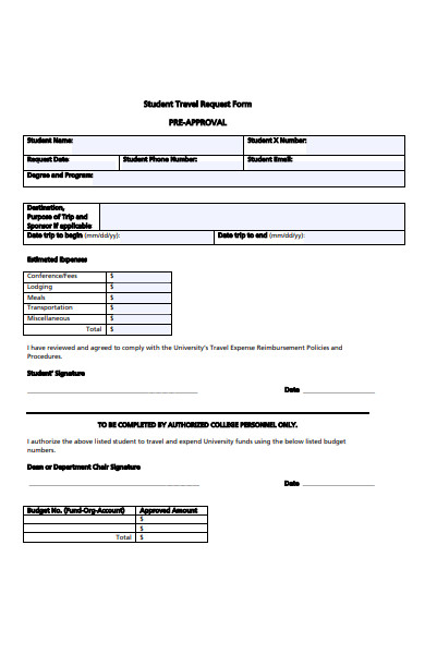 student travel request form