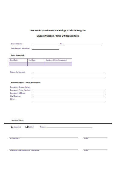 student vacation time off request form