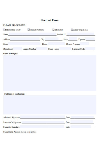 study contract form
