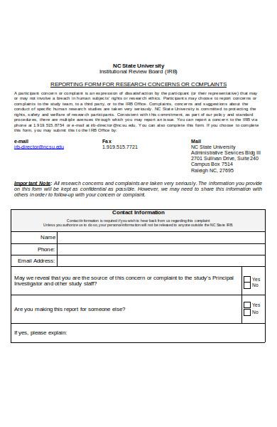 subject complaint form