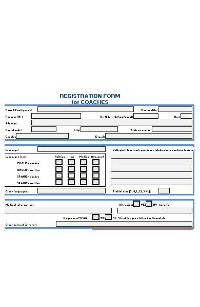 summer camp registration form for coach