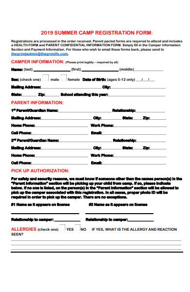summer camp registration form in pdf