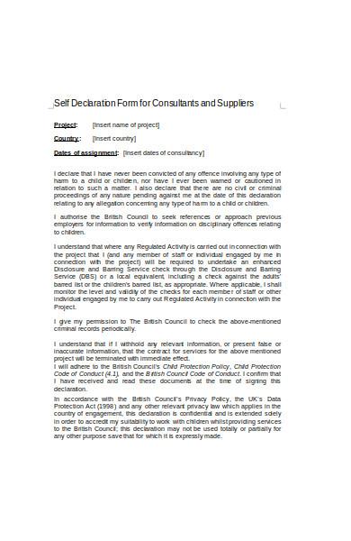 suppliers declaration form