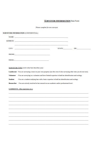 survey information data form