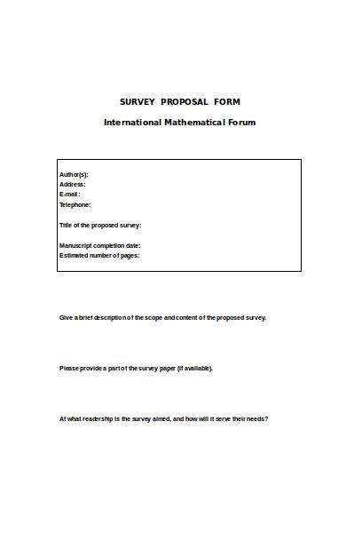 survey proposal form