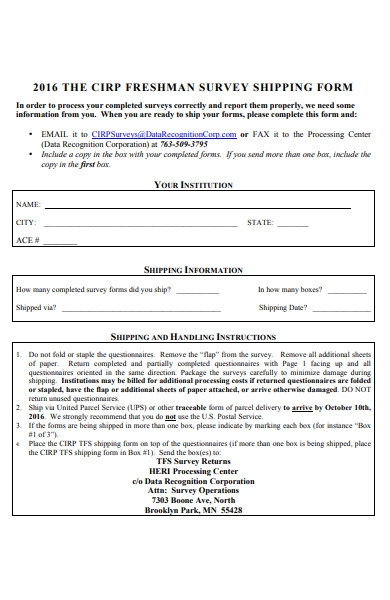 survey shipping form