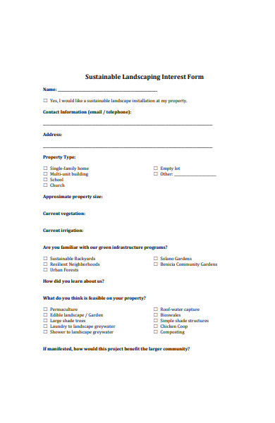 sustainable landscaping interest form