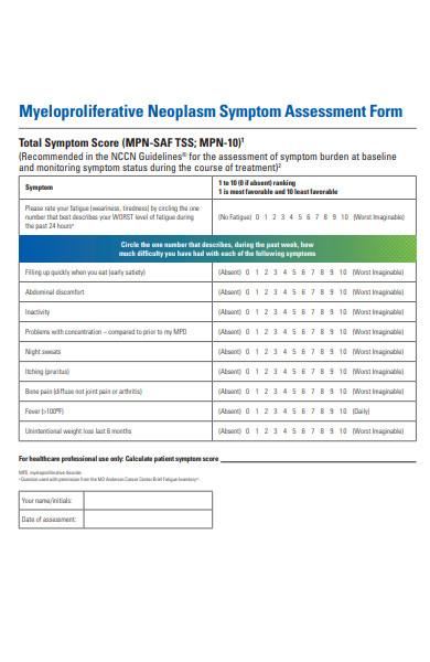 symptom assessment form