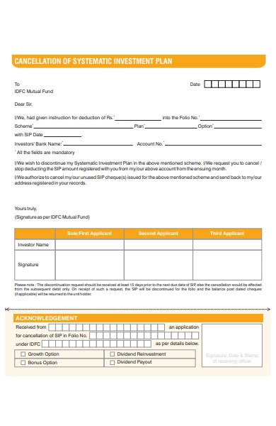 systematic cancellation form