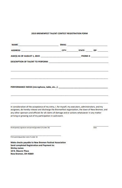 talent contest registration form