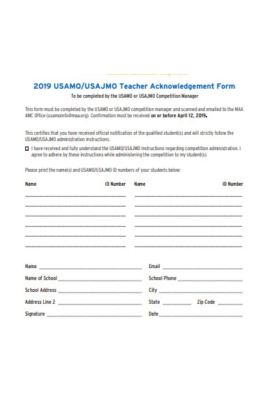teacher acknowledgement form