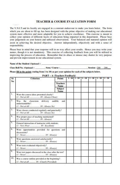 teacher course evaluation form