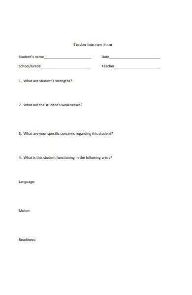 teacher interview form