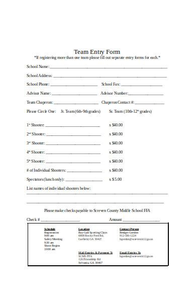 team entry form