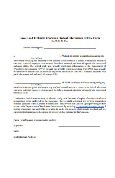 technical education release form