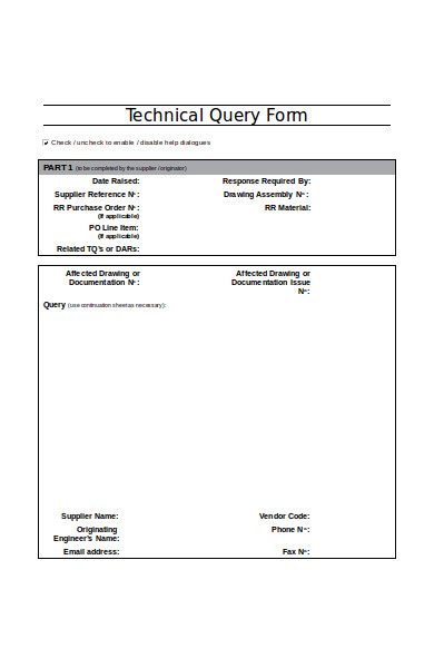 technical query form