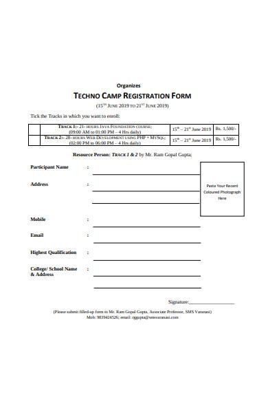 techno camp registration form