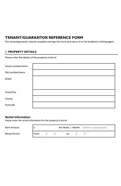 tenant guarantor reference form