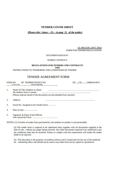 tender contract form