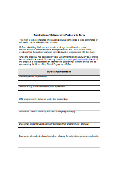 termination of partnership form