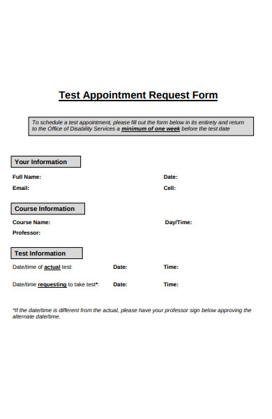 test appointment request form