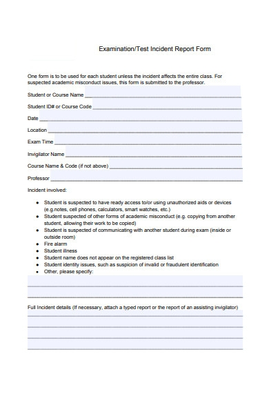 test incident report form